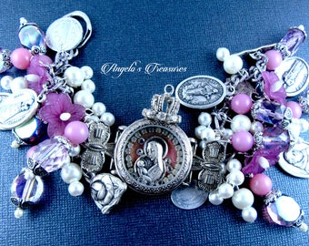 Vintage and New Catholic Virgin Mary with Baby Jesus Watch Shrine Handmade Religious Medals Charm Bracelet