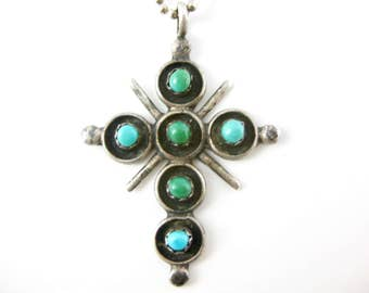 "Vintage Sterling Silver Turquoise Cross Pendant with 18"" Sterling Necklace"