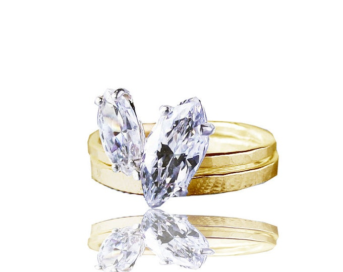 Marquise Diamond Stackable Engagement Wedding ring set | Naturelovers Love rings | Conflict Free Diamonds and Recycled Gold