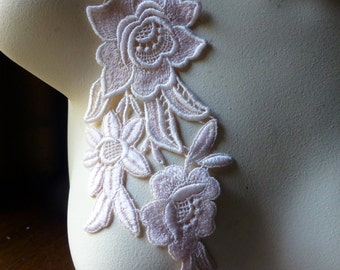 Pink Lace Applique with Triple Flowers #1 Venice Lace for Lyrical Dance, Bridal, Costume Design CA