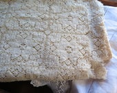 """Leavers Lace Tablecloth in Ivory Cotton 86"""" x 60"""" Vintage 1950's"""