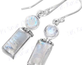 "15/16"" Gorgeous Moonstone Gems 925 Sterling Silver Earrings"