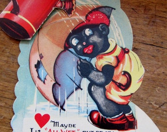 Vintage Black Americana Valentine Stands up  Watering Can moves USA