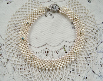 Gorgeous Vintage 30's to 40's Faux Pearl Rhinestone Wedding Collar Bib Necklace