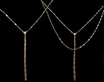 Lariat Necklace, Double Lariat Necklace, Y Necklace, Layered Lariat Necklace, Gold Lariat Necklace, Gold Double Lariat
