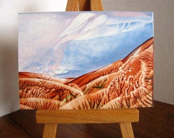 ACEO On a Clear Day, You Can See Forever Encaustic (Wax) Original Miniature Painting. Sky, Horizon, Hills. Desk Art. SFA (Small Format Art)