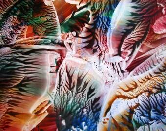 5X7 Rainbow Rhapsody Encaustic (Wax) Original Abstract Painting / Blue, Orange, Green, Red / Beeswax Painting / SFA (Small Format Art)