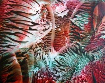 5X7 Sienna & Teal Encaustic (Wax) Original Abstract Painting / Beeswax Art / Post Card Size, Desk Art / SFA (Small Format Art)