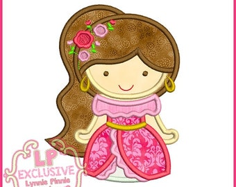 Pretty Latin Princess Cutie Applique Design 4x4 5x7 6x10 Machine Embroidery