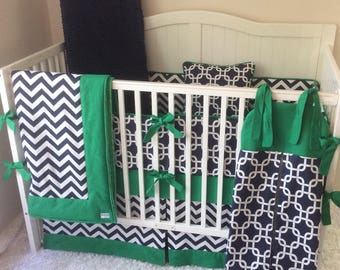 DEPOSIT Modern Green and Navy Blue Baby Boy Crib Bedding Complete Nursery Set