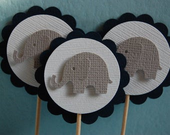 Navy Blue, White and Grey Elephant Cupcake Toppers--Set of 6-Baby Shower-First Birthday-Boy-Elephant Party Picks-Baptism--Ready to Ship