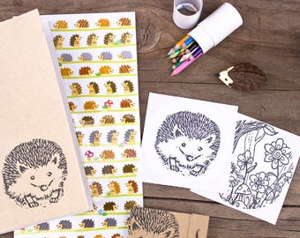 Hedgehog Drawing Set Kids Art Set with Hedgehog Notebook Stickers Eraser and Mini Colored Pencils