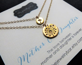 Gold Dandelion mother daughter necklace, mother of the bride gift from bride, mother and daughter jewelry sets