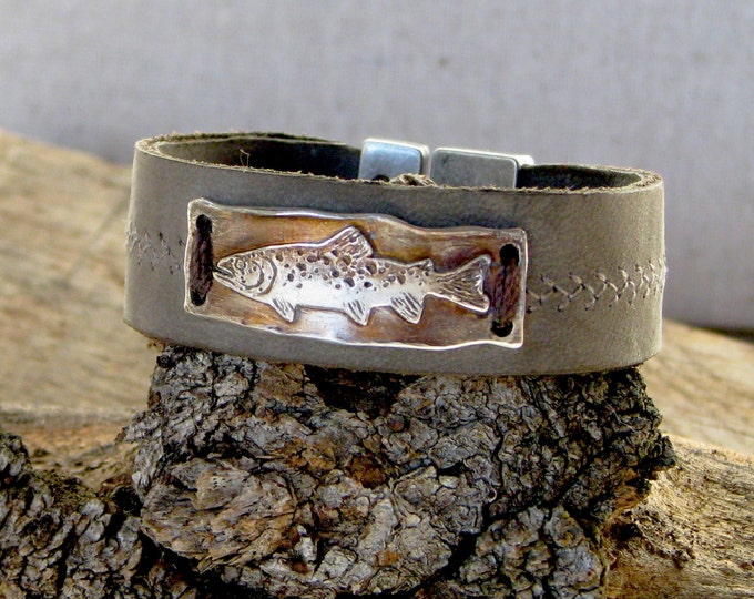 Silver Trout and Leather Bracelet