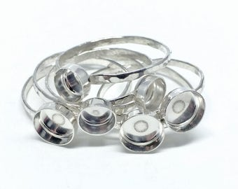 6mm Ring Blanks - Sterling Silver Bezel Blanks - Skinny Stacking Rings - Jewelry Making Supplies