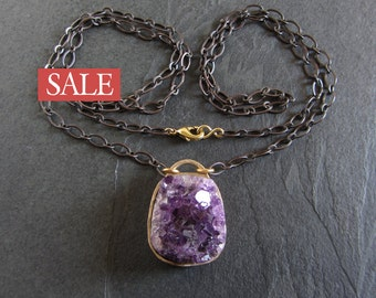 SALE - 50% off / Bronze and amethyst druzy pendant necklace / amethyst necklace / artisan necklace / boho necklace / druzy necklace
