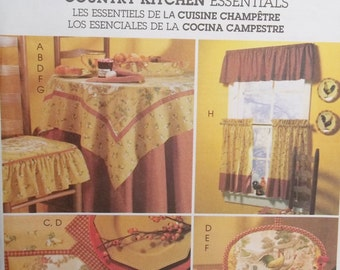Kitchen Accessories Sewing Pattern, McCall's M4327 Home Decorating Pattern, Valance and Cafe Curtains, Table Topper, Tablecloth, Placemats