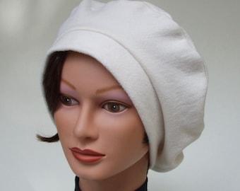 Tam Hat for Women, Organic Cotton Fleece, USA Milled, Organic Beret, Alopecia Beret, White Chemo Hat, Chic Cancer Headwear, Cozy Medium