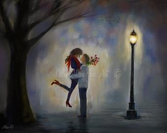 "Couple Art Print Couple Painting Couple Love Hugging Couple in Love Street Romance Romantic Art ""Red Roses For You"" Leslie Allen Fine Art"
