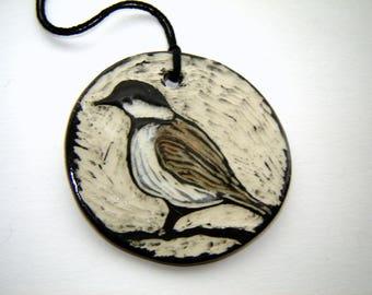 Chickadee Ceramic Ornament – Sgraffito Pottery – Fine Art Ceramics – Home Décor – Bird Art – Block Print Inspired