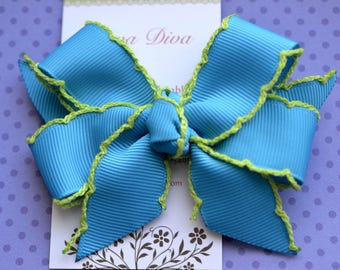 Turquoise with Lime Crochet Edge Classic Diva Bow