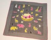 "50's / 60's Tammis Keefe Handkerchief / Noah's Ark / Biblical Theme / Gray / 15"" Square"