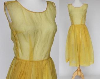 50's / 60's Sheer Dress / Sleeveless Dress / Pleated Skirt / Yellow Gold / XSmall