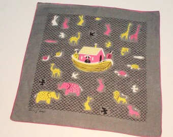 "50's / 60's Tammis Keefe Handkerchief / Noah's Ark / Biblical Theme / Gray / 15"" Square"