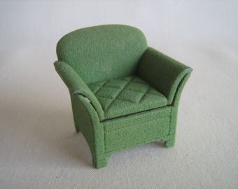 Vintage Dollhouse Furniture- TOOTSIE TOY Green Flocked Metal Side Chair in Half Inch Scale