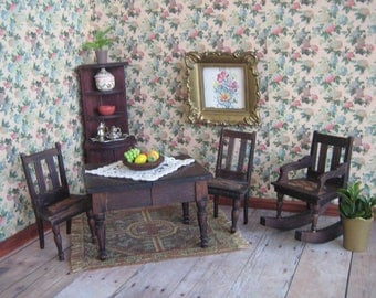 """Miniature German Red Stain Dining Room Set and Rocker- Dollhouse Furniture - in Small 1"""" Scale"""