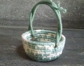 Handwoven Small Basket With Looped Handles For a Tiny Home or a Small Space