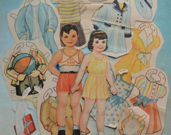 Vintage Tom and Rose Children Paper Dolls and Clothes