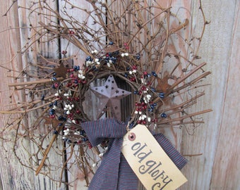 Primitive Americana Grapevine Twiggy Pip Berry with Stars Hand Made Wreath GCC2400