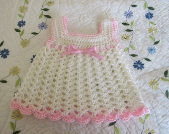 Crochet Baby Girl Dress - Crocheted White and Pink Baby Dress - Crocheted Newborn Easter Dress - Size 0 to 3 Months