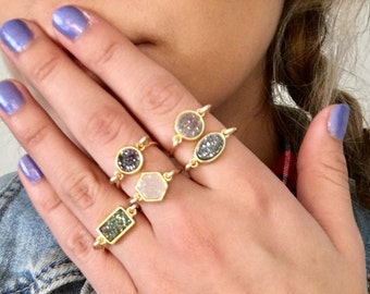 Dainty stackable druzy rings gold
