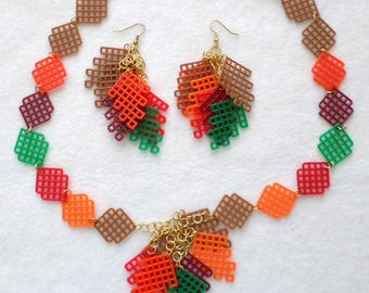 Plastic Canvas Necklace Set - Fall Leaves