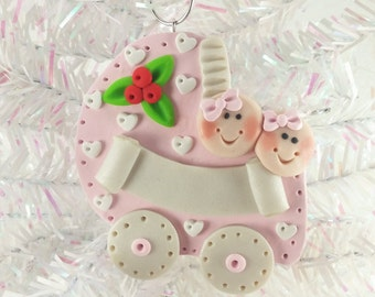 Baby Shower Gift - Twin Girls - Personalized Baby's First Christmas Ornament - Twins First Christmas - Polymer Clay Baby Ornament - 1115