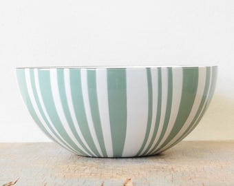 "vintage Cathrineholm striped bowl, mid century Cathrineholm seafoam green zebra stripe bowl, 9.5"" enamel bowl"
