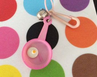 Vintage 80's Plastic Bell Clip Frying Pan with Egg Charm Toy Necklace Jewelry Pendant Pink