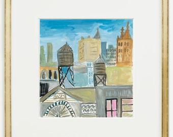 Original painting, City Skyline, Urban view, Gouache painting, 8x8, wall art