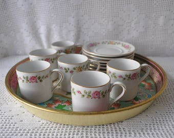 Pink Rose Garland French Porcelain Tea Set/Vintage 1930s/Set of Seven Demitasse Cups and Saucers/Floral Tin Tray