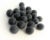 Felt Balls Natural Charcoal - 20 Pure Wool Beads 15mm - Natural grey wool shades -   (W205)
