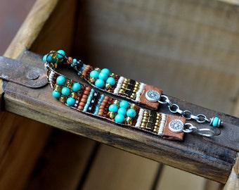 Sterling Silver Turquoise Bracelet, Garnet Leather Beaded Bracelet, Silver Bead Woven Cuff Bracelet