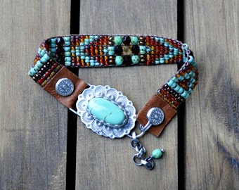 xX RESERVED Xx Sterling Silver Turquoise Bracelet, Turquoise Leather Beaded Wrap Bracelet, Silver Bead Woven Bracelet