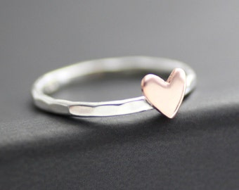 Love Ring, Heart Ring, Copper Heart Ring, Sterling Stack Ring, Sweetheart Ring, Anniversary Ring, Bridesmaid Ring, Womens Heart Ring