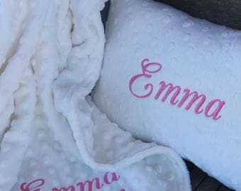 Soft Minky Chenille Personalized 28x30 Baby Blanket and 8x10 Baby Pillow Set in Your Color Choice Mix and Match Colors Available
