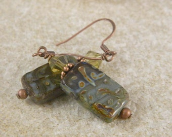 Olive Green and Milky Blue Czech Glass Copper Earrings