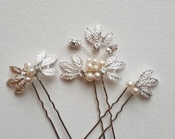 Wedding Hair Pins, Bridal Hair Pins, Freshwater Pearl Wedding Hair Pins
