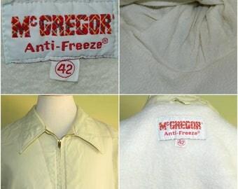 M 60s 70s McGregor Anti-Freeze Off White Insulated Nylon Windbreaker Jacket Talon Brass Zipper Fleece Lined