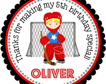 Ice Hockey Stickers, Personalized Hockey Stickers or Gift Tags, Ice Hockey Birthday Party - Set of 12